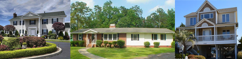 image collage of various homes for sale in Brunswick county