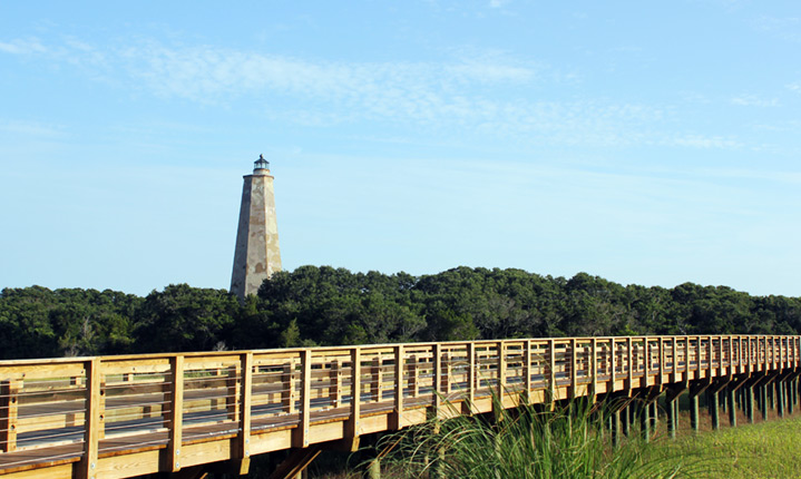 Bald Head Island Light house and pier