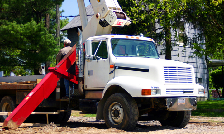 Construction truck in Residential Brunswick neighberhood. Growth and Development page